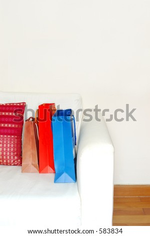 shopping bags in a minimalist apartment (high key)
