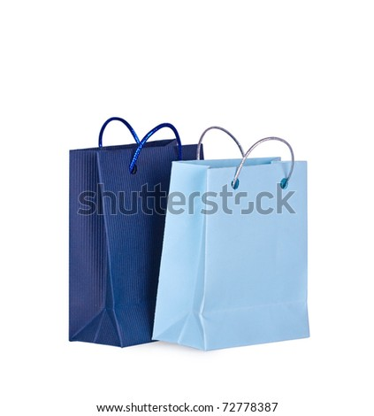 Shopping bags on a white background close up