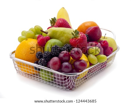 Shopping basket filled with delicious-looking foods.