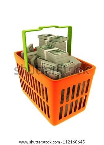 Shopping basket full of hundred dollar bills (isolated on white)