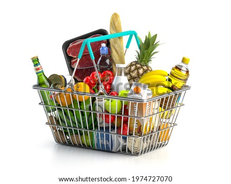 Shopping basket full of variety of grocery products, food and drink isolated on white background. 3d illustration
