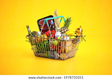 Shopping basket full of variety of grocery products, food and drink on yellow background. 3d illustration