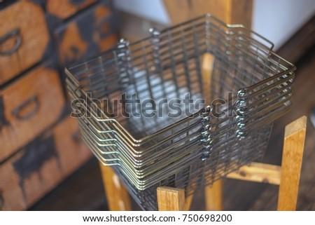 shopping basket. iron basket in ...