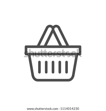 Shopping basket line icon isolated on white