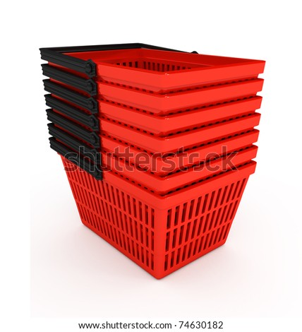 Shopping basket over white background. 3d rendered image