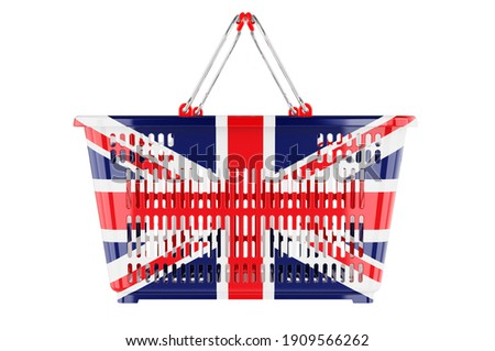 Shopping basket with British flag, market basket or purchasing power concept. 3D rendering isolated on white background Stock photo ©