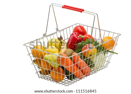 Shopping basket with vegetables and fruit. Isolated on white background.