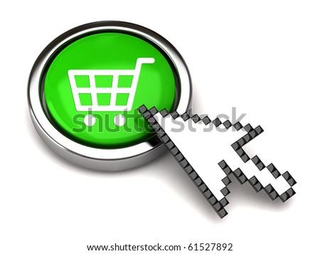 Shopping button and arrow cursor