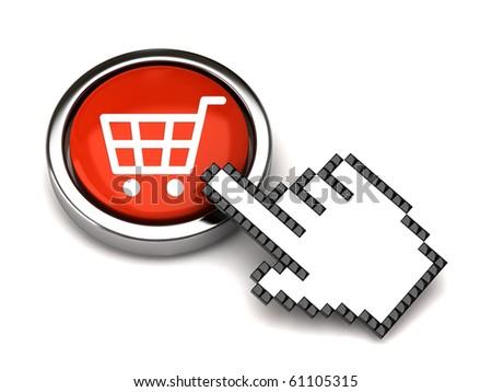 Shopping button and hand cursor