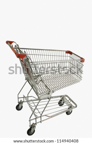 Shopping cart against white background