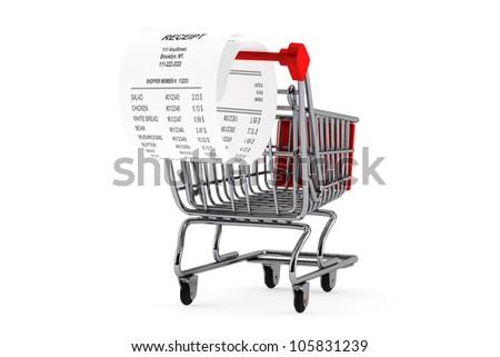 Shopping Cart & Receipt on the white background - stock photo