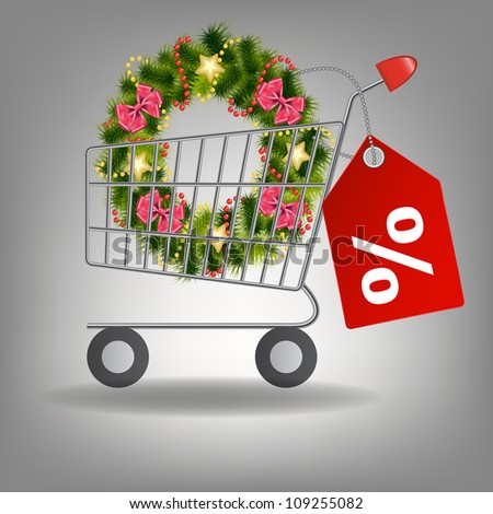 Shopping cart and christmas wreath.  Raster version illustration.