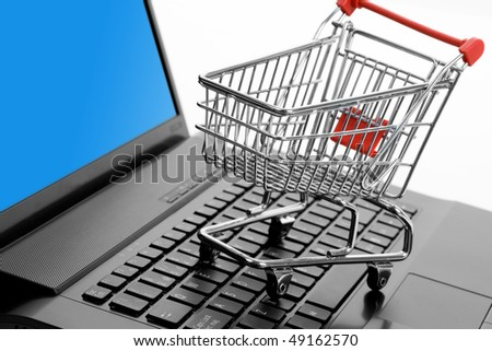 Shopping Cart and Computer keyboard, concept of online shopping
