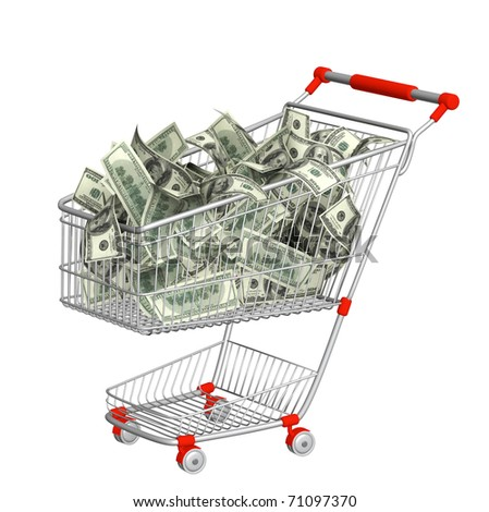 Shopping cart and dollars. Objects isolated over white