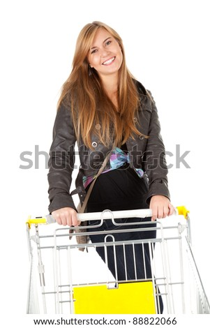 shopping cart and girl
