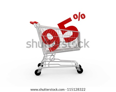 Shopping cart and red ninety five percentage discount, isolated on white background.