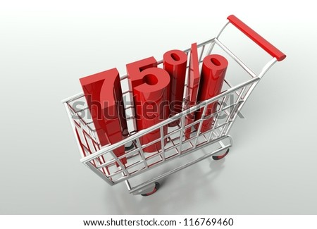Shopping cart and red seventy five percent discount, sale concept