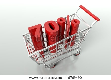 Shopping cart and red seventy percent discount, sale concept