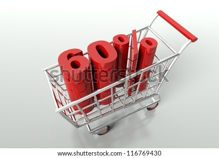 Shopping cart and red sixty percent discount, sale concept