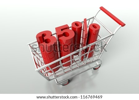 Shopping cart and red thirty five percent discount, sale concept - stock photo