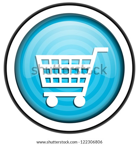 shopping cart blue glossy icon isolated on white background