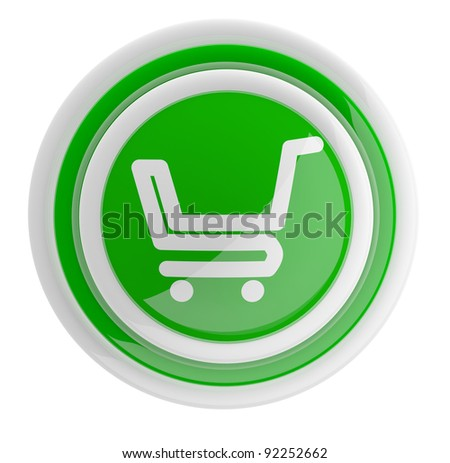 Shopping cart button. 3D icon isolated on white