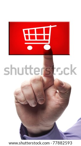 Shopping cart button pressed by male hand