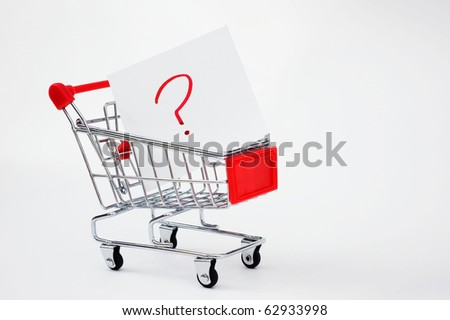 Shopping cart close up shot,  looking for solution or answers.