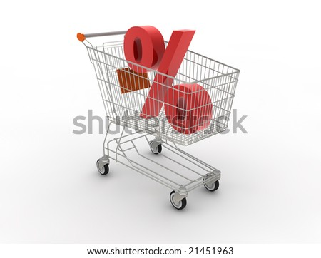 Shopping cart. 3D generated image.