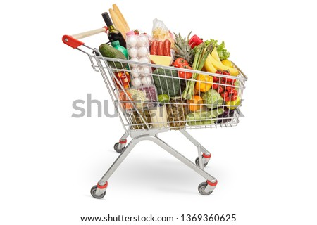 Shopping cart filled with products isolated on white background