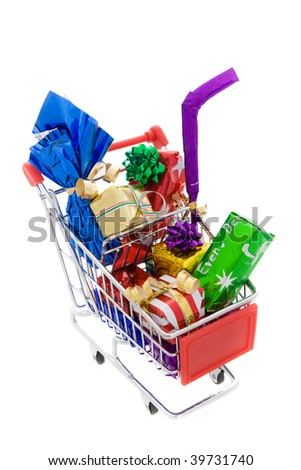 Shopping cart full of different presents on a white background
