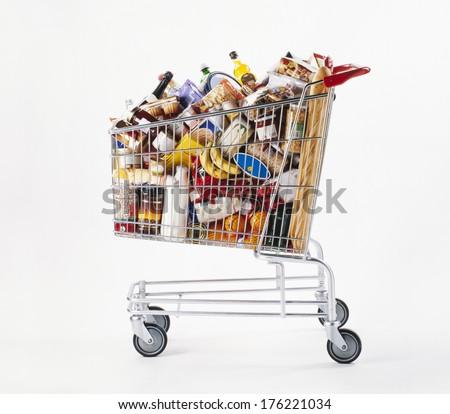 Shopping cart full of food