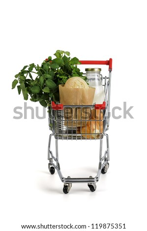 Shopping cart full with groceries isolated in white