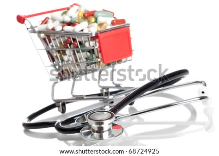 Shopping Cart full with medicine - isolated on a white background
