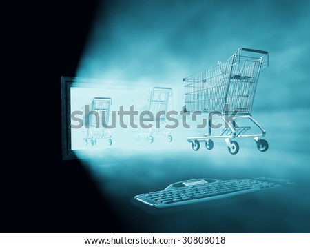 shopping cart go into computer - stock photo