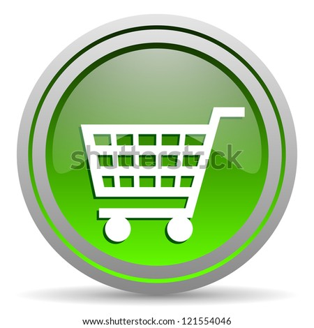 shopping cart green glossy icon on white background