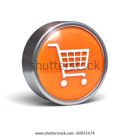 Shopping cart icon - 3D button with clipping path