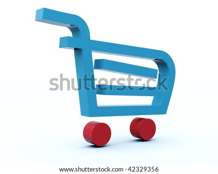 Shopping cart icon from blue a?? red series