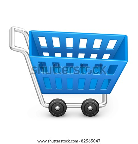 Shopping cart icon in blue on isolated white background. 3D render image and part of icon series.