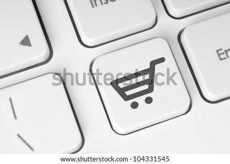 Shopping cart icon on keyboard key