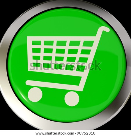 Shopping Cart Icon Or Green Button As Symbol For Checkout Or Online Shopping