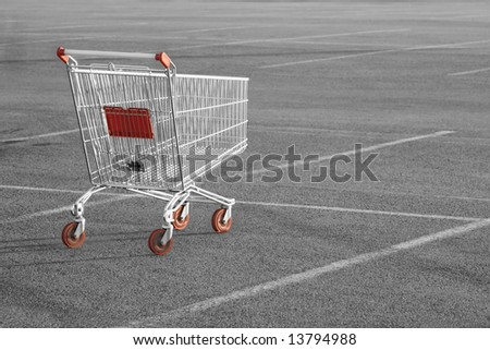 Shopping cart in a store parking lot