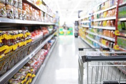 Shopping cart in supermarket, Abstract blurred photo in shopping malls, Cart in the market, wide variety of products are placed on the shelves for an orderly display.