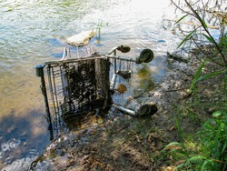 Shopping cart in the river on the shore