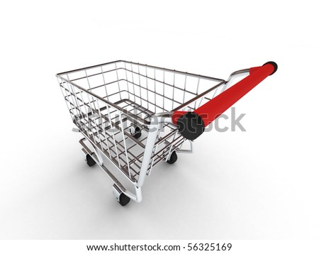 Shopping cart isolated on white background. High quality 3d render.