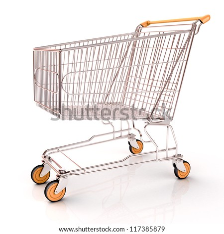 Shopping cart isolated on white background with light shodows and reflection