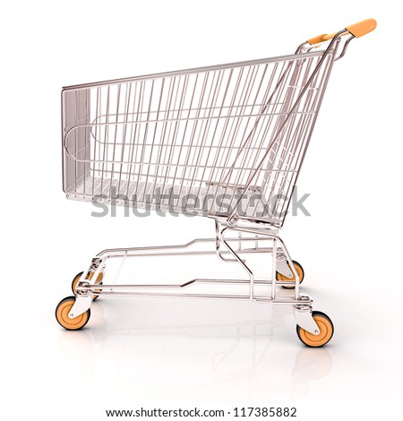 Shopping cart isolated on white background with light shodows and reflection - stock photo