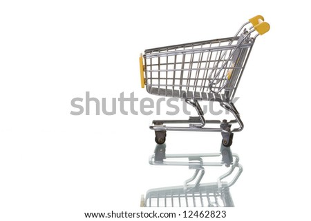 Shopping cart isolated on white with reflection