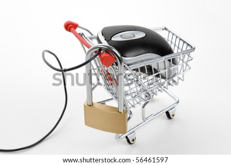 Shopping Cart, lock and Computer Mouse, concept of online shopping Security