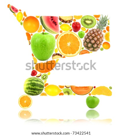 Shopping cart made of fruit isolated on white